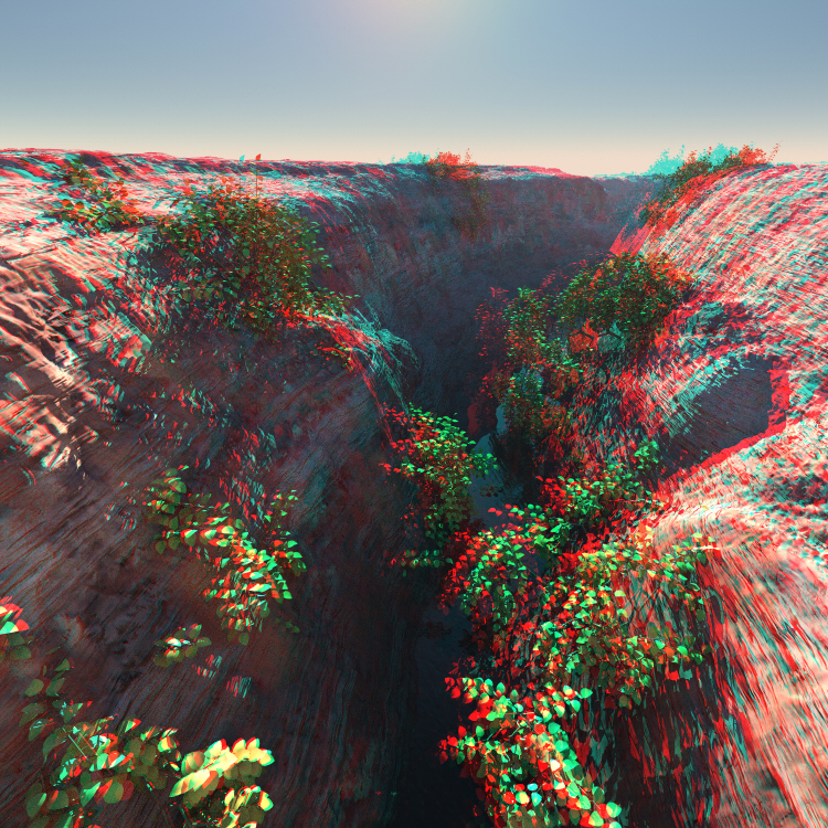 Anaglypherized scene of a deep ravine