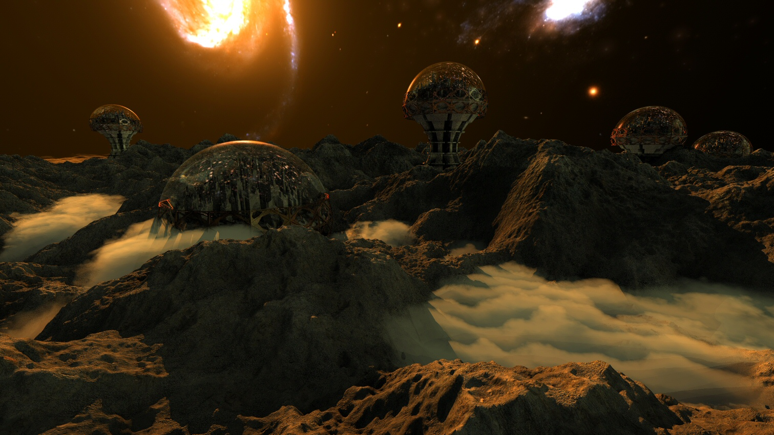 space settlement bryce render