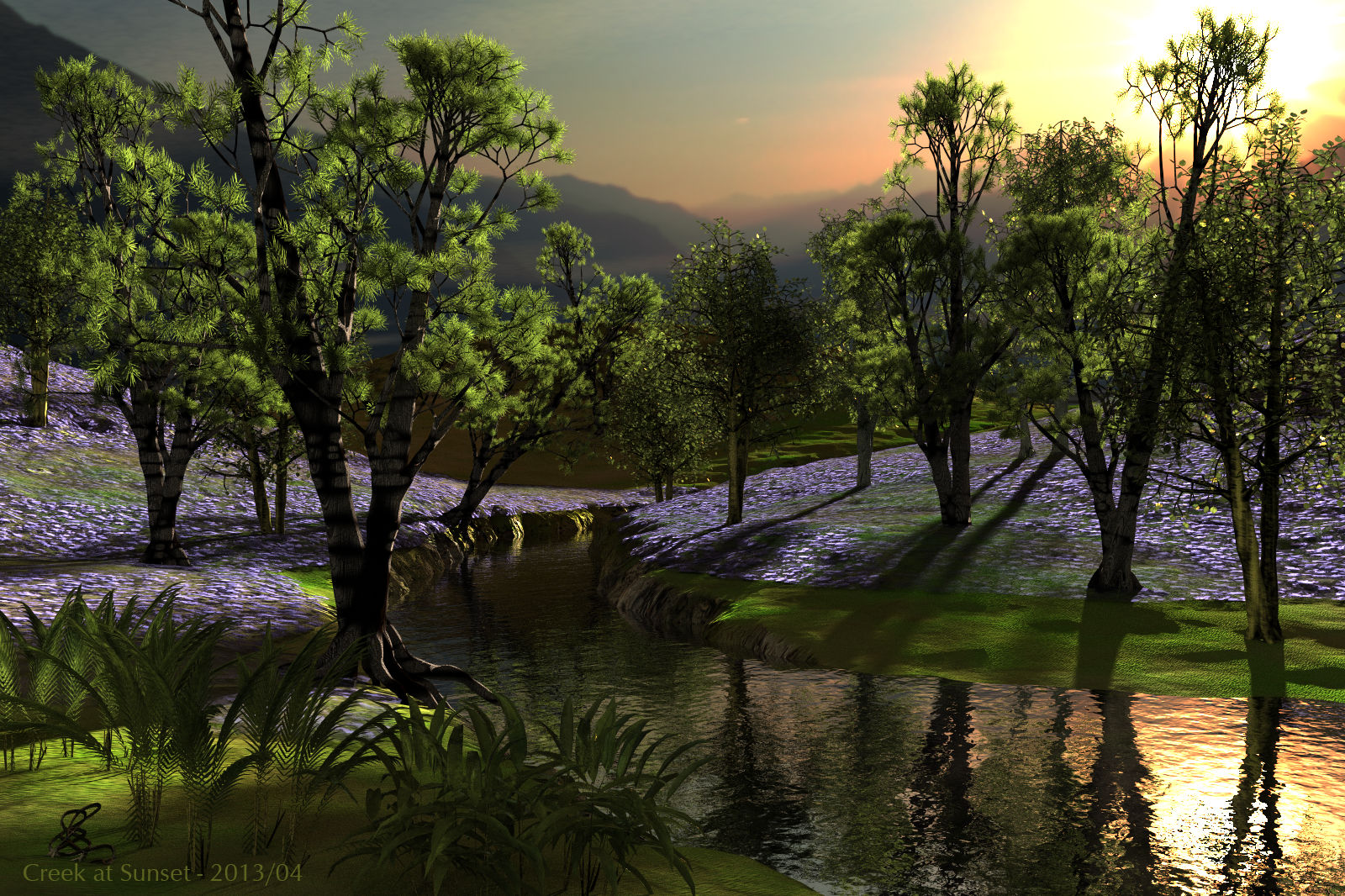 Creek at Sunset - Bryce 3D render by Horo