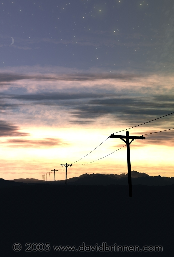 Sunset and telegraph poles...
