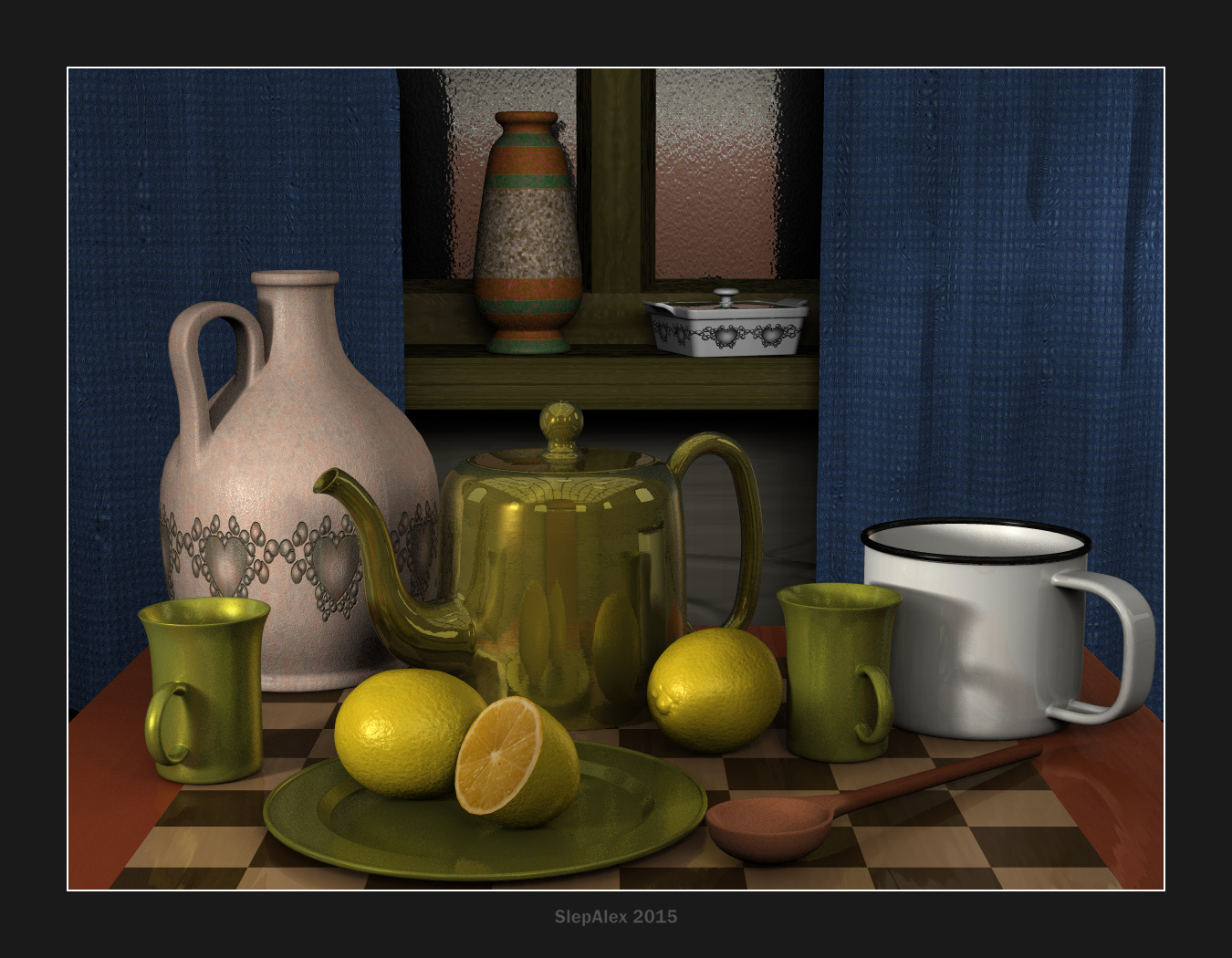 Teapot and lemons
