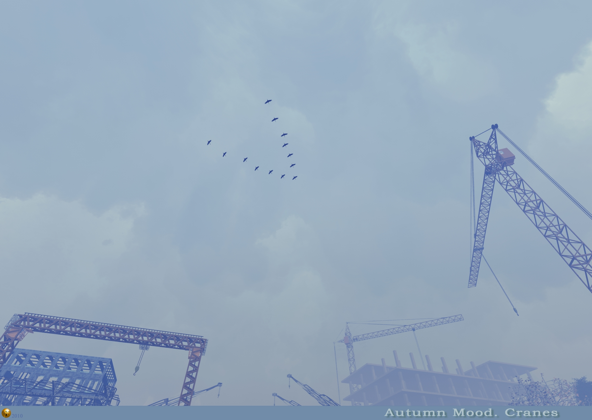 Autumn Mood. Cranes.