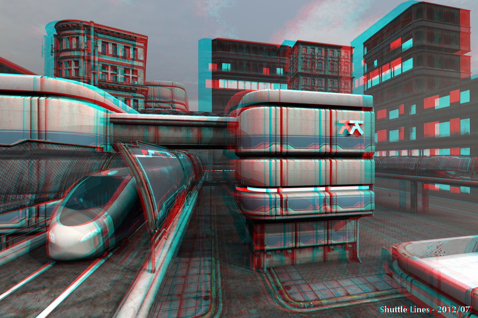 Shuttle Lines Anaglyph