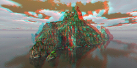 Island scene 3D anaglyph