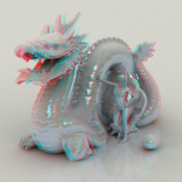 Anaglyph test with the Stanford dragon