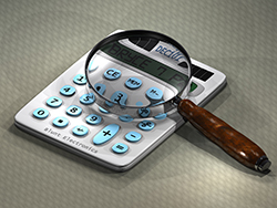 Calculator and Magnifying Glass.